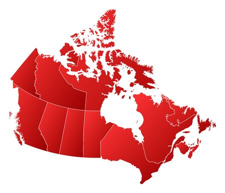 tone shading: Map of Canada with the provinces, filled with a linear gradient.