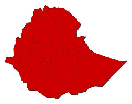 Map of Ethiopia with the provinces, colored in red.