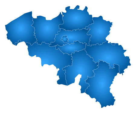 tone shading: Map of Belgium with the provinces, filled with a radial gradient. Illustration
