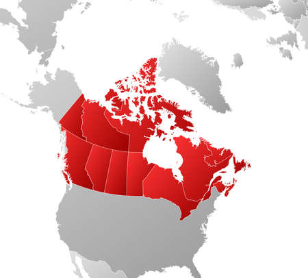 tone shading: Map of Canada with the provinces and nearby countries, filled with a linear gradient.