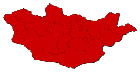 Map of Mongolia with the provinces, colored in red.