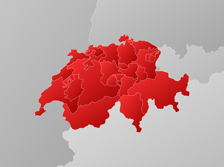 schweiz: Map of Swizerland with the provinces and nearby countries, filled with a linear gradient.