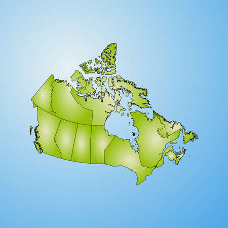 Map of Canada with the provinces, filled with a radial gradient.