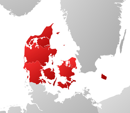 Map of Denmark with the provinces and nearby countries, filled with a linear gradient.