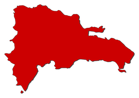 Map of Dominican Republic with the provinces, colored in red. 일러스트