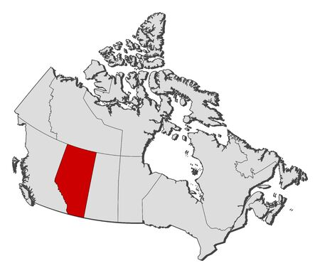 alberta: Map of Canada with the provinces, Alberta is highlighted.