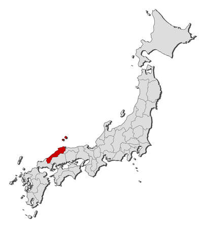 Map of Japan with the provinces, Shimane is highlighted.