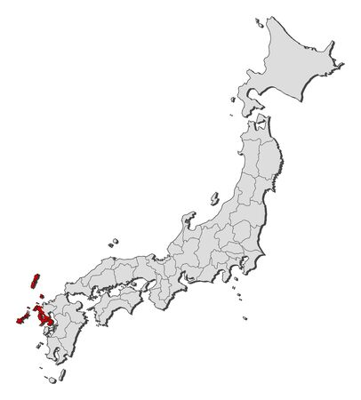 Map of Japan with the provinces, Nagasaki is highlighted. Illustration