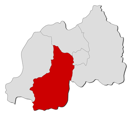 highlighted: Map of Rwanda with the provinces, South is highlighted.