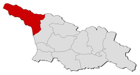 highlighted: Map of Georgia with the provinces, Abkhazia is highlighted.