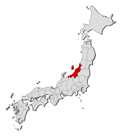Map of Japan with the provinces, Niigata is highlighted.