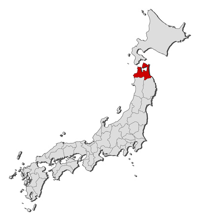Map of Japan with the provinces, Aomori is highlighted.