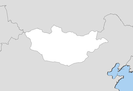 Map of Mongolia and nearby countries, Mongolia is highlighted in white.