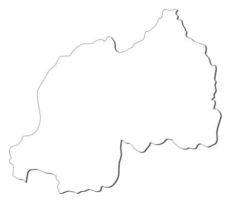 republique: Map of Rwanda, contous as a black line.