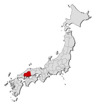 hiroshima: Map of Japan with the provinces, Hiroshima is highlighted.
