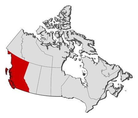 british columbia: Map of Canada with the provinces, British Columbia is highlighted. Illustration