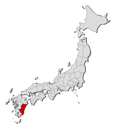 provinces: Map of Japan with the provinces, Miyazaki is highlighted. Illustration