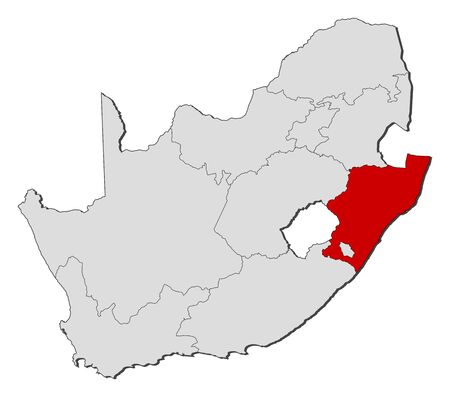 Map of South Africa with the provinces, KwaZulu-Natal is highlighted.