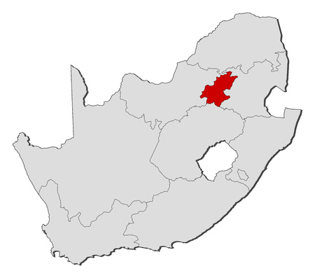 gauteng: Map of South Africa with the provinces, Gauteng is highlighted.