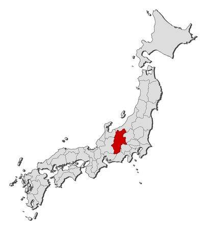 provinces: Map of Japan with the provinces, Nagano is highlighted.