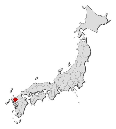 saga: Map of Japan with the provinces, Saga is highlighted.