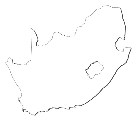 shady: Map of South Africa, contous as a black line.