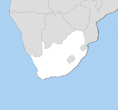 shady: Map of South Africa and nearby countries, South Africa is highlighted in white.