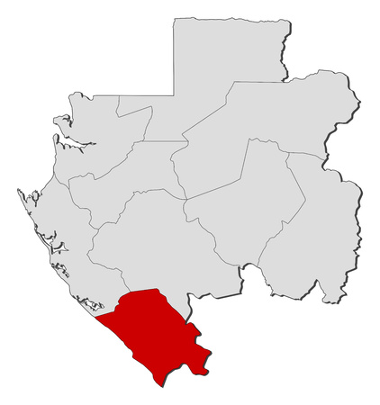 provinces: Map of Gabon with the provinces, Nyanga is highlighted.