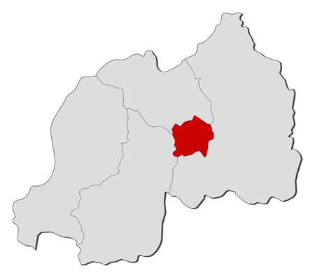 kigali: Map of Rwanda with the provinces, Kigali is highlighted.