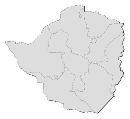 zimbabwe: Map of Zimbabwe with the provinces. Illustration