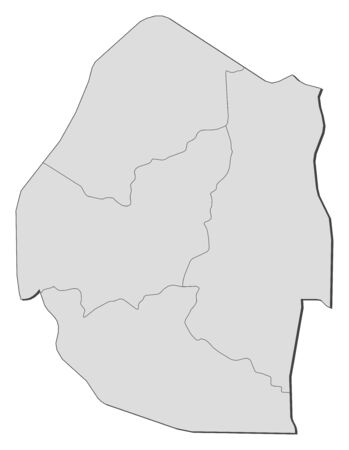 frontiers: Map of Swaziland with the provinces.