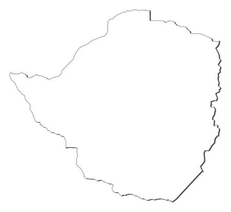 shady: Map of Zimbabwe, contous as a black line.
