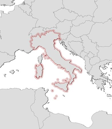frontiers: Map of Italy and nearby countries, Italy is highlighted by a hatching.