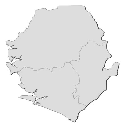 sierra leone: Map of Sierra Leone with the provinces.