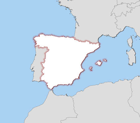 hatching: Map of Spain and nearby countries, Spain is highlighted by a hatching.
