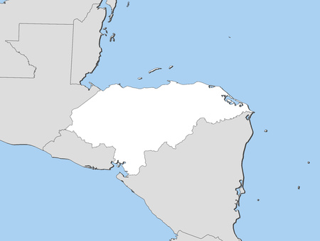 shady: Map of Honduras and nearby countries, Honduras is highlighted in white.