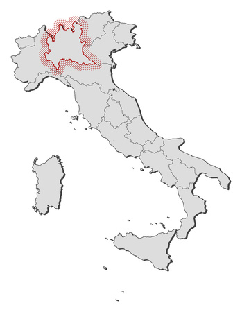 hatching: Map of Italy with the provinces, Lombardy is highlighted by a hatching.