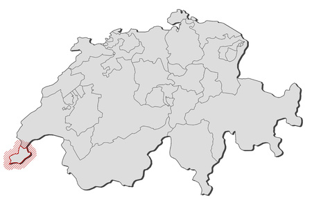 Map of Swizerland with the provinces, Geneva is highlighted by a hatching.
