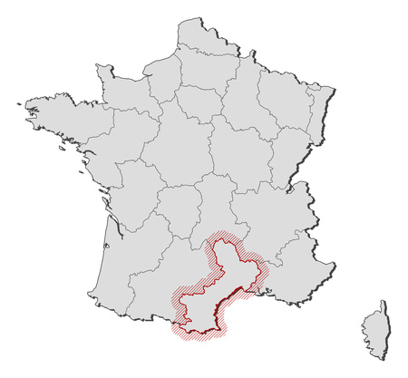 hatching: Map of France with the provinces, Languedoc-Roussillon is highlighted by a hatching. Illustration