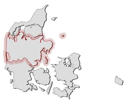hatching: Map of Denmark with the provinces, Central Denmark is highlighted by a hatching.