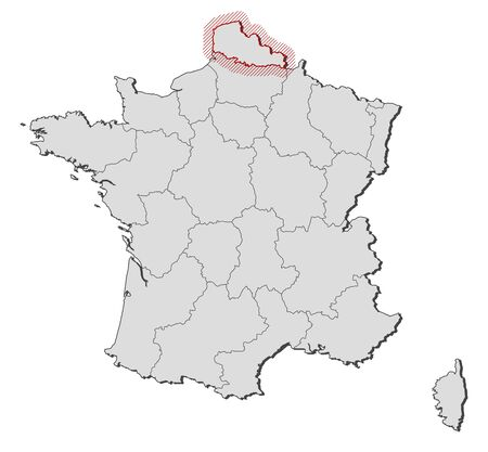 hatching: Map of France with the provinces, Nord-Pas-de-Calais is highlighted by a hatching.