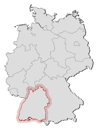 federal republic of germany: Map of Germany with the provinces, Baden-Wurttemberg is highlighted by a hatching.