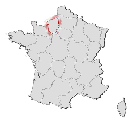 normandy: Map of France with the provinces, Upper Normandy is highlighted by a hatching. Illustration