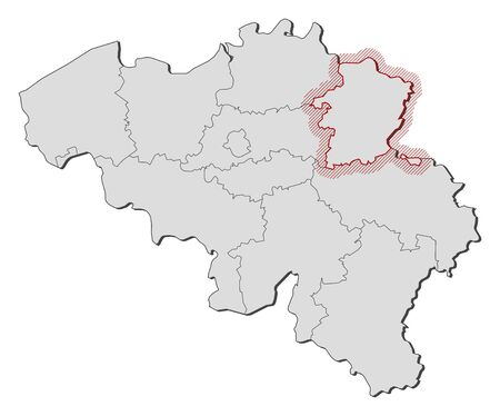 limburg: Map of Belgium with the provinces, Limburg is highlighted by a hatching. Illustration