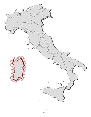 Map of Italy with the provinces, Sardinia is highlighted by a hatching.