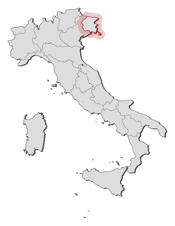 Map of Italy with the provinces, Friuli-Venezia Giulia is highlighted by a hatching.