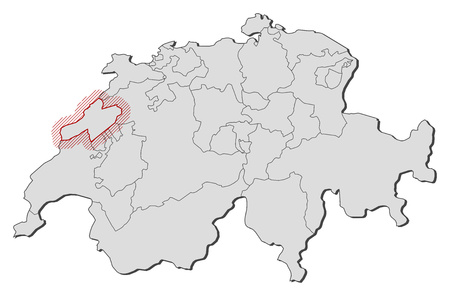 hatching: Map of Swizerland with the provinces, Neuch?tel is highlighted by a hatching. Illustration