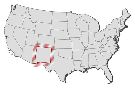nm: Map of United States with the provinces, New Mexico is highlighted by a hatching.