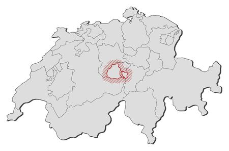 Map of Swizerland with the provinces, Obwalden is highlighted by a hatching.