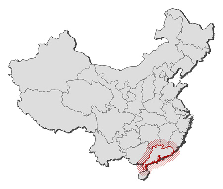Map of China with the provinces, Guangdong is highlighted by a hatching.